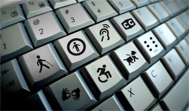 Standard keyboard with accessibility icons replacing standard keyboard letters