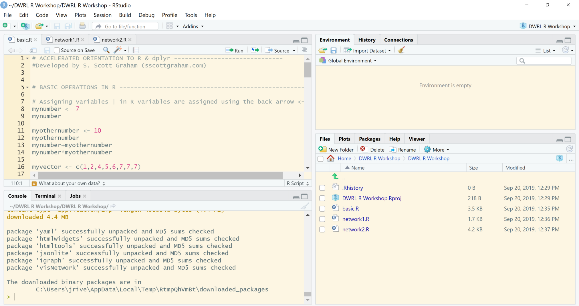 Screenshot of an RStudio pane. Code can be seen within the source and console. The environment pane is empty and there are files in the files/plots/packages/help pane.