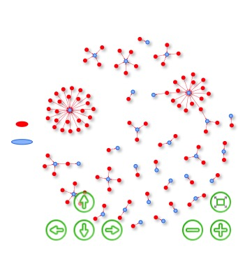 Network model where donors and staffers can be visualized. A navigation key in green is located on the lower corners of the image.