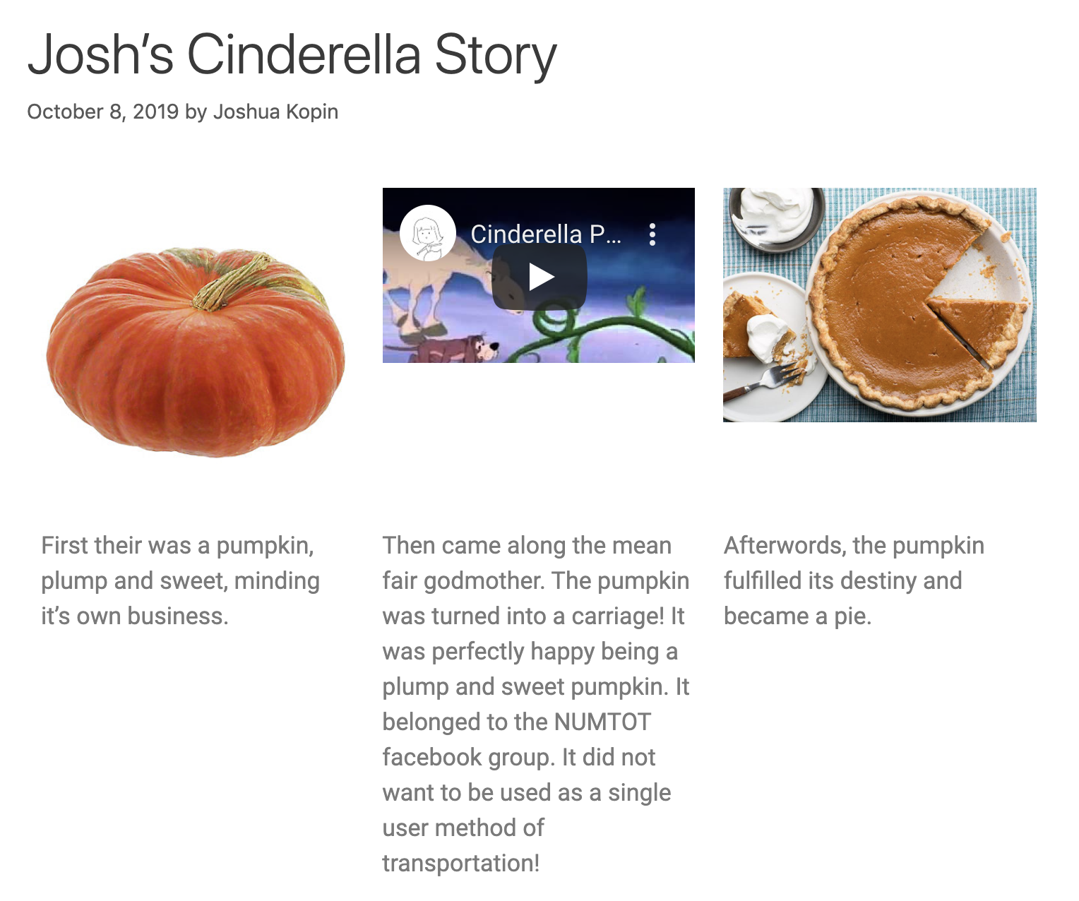 Story by Josh Kopin from pumpkin perspective
