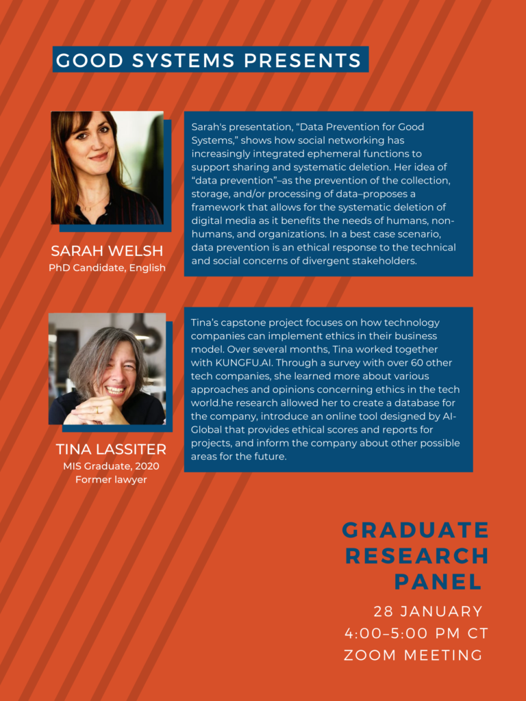 Poster advertising a Good Systems research panel on 1/28/2021 with graduate students Sarah Welsh and Tina Lassiter